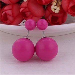 Rose Pink Double Pearl Stud Earrings